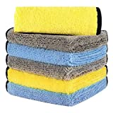 HOTOR Ultra Thick Microfiber Cleaning Cloths, 16'' x 16'' Thickened and Absorbent Microfiber Towels...