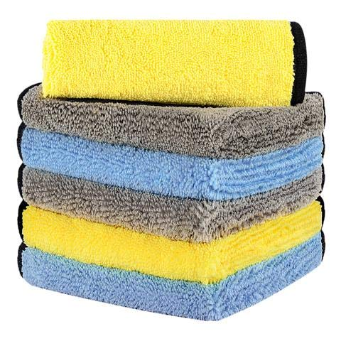 HOTOR Ultra Thick Microfiber Cleaning Cloths, 16'' x 16'' Thickened and Absorbent Microfiber Towels with Great Bibulous Performance, Ideal for Car & Home Use, Blue, Yellow and Grey - 6 Pack