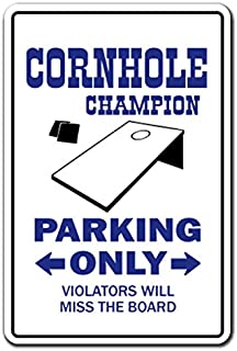 [SignJoker] CORNHOLE CHAMPION Parking Sign boards bags teams game bean bag toss corn hole Wall Plaque Decoration