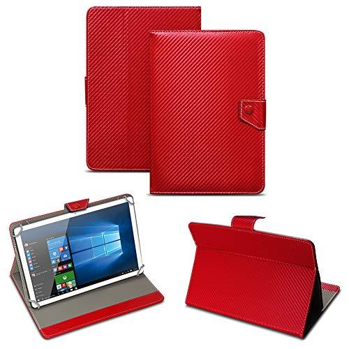 NAUC Universal Tablet Tasche mit Standfunktion Hülle für Blaupunkt Endeavour 101M 101G 101L Tablet Schutztasche in Edler Carbon-Optik Schutzhülle Cover Hülle, Farben:Rot
