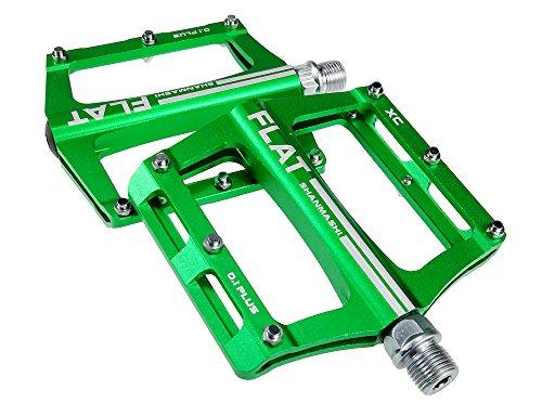 UPANBIKE Mountainbike-Kugellager-Pedale 9/16 Zoll Spindel Aluminiumlegierung Flache Plattform für BMX MTB Rennrad(Grün)
