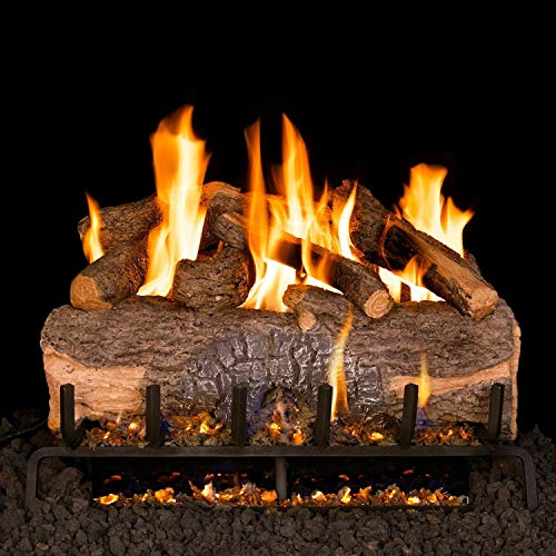 Read About Peterson Real Fyre 24-Inch Mountain Crest Oak Gas Log Set with Vented Natural Gas ANSI Ce...