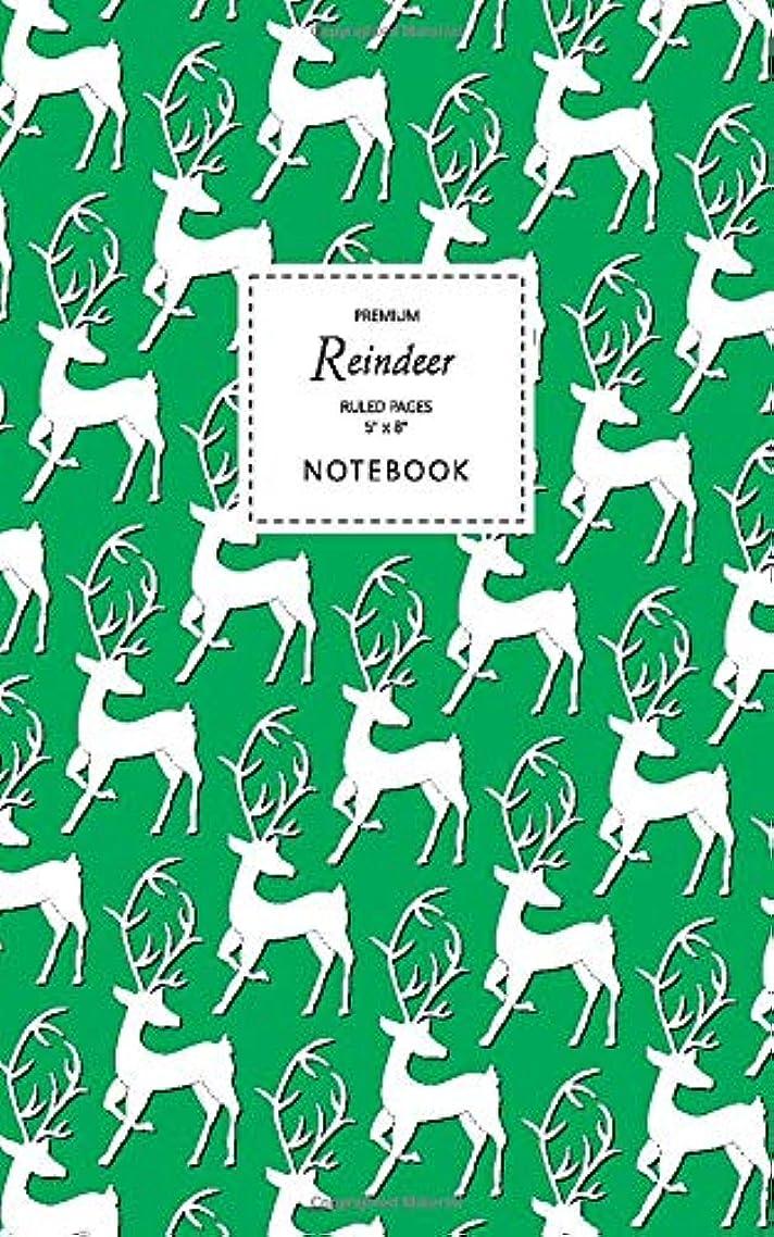 アフリカ印をつける旧正月Reindeer Notebook - Ruled Pages - 5x8 - Premium: (Green Edition) Fun notebook 96 ruled/lined pages (5x8 inches / 12.7x20.3cm / Junior Legal Pad / Nearly A5)