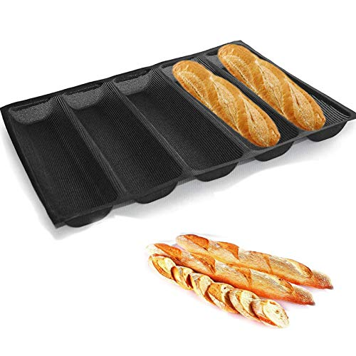 Silicone Non- Stick French Bread Pan Baking Forms Sandwich Mould,Reusable Form Perforated Mold 5 Loaf Black