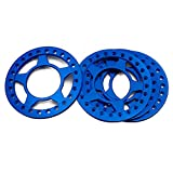 RCLIONS 4pcs Aluminum Replacement Wheel Rim Beadlock Ring for 1:10 Crawler RC Car 2.2' Wheels/Rims (Blue)