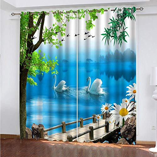 KAOLWY The Curtains, Two Swans 140 x 160 cm, Thermal Blackout Curtains for Room Windows and Balconies Modern Printed with Eyelets