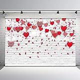Avezano 2.4*1.8m Fondo de San Valentín Corazones rojos rosados Fondo de pared de ladrillo blanco Día de la madre Boda Despedida de soltera Fiesta de aniversario Fiesta de cumpleaños de niña Banner
