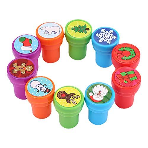Kisangel 10st Cartoon Christmas Stamper Toys Kids Stamper Decoratieve DIY Stampers Kerst Ornamenten
