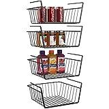 Under Shelf Basket, iSPECLE 4 Pack Black Wire Rack, Wire Basket Under Shelf for Storage, Easy to Install