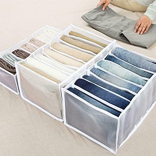 Armadio Portaoggetti Per Scomparti Jeans, Organizzatore Di Separazione In Rete Per Cassetti Pieghevoli Per Vestiti, Cassetto Impilabile Per Pantaloni (3 Pezzi Di Diverse Dimensioni) (bianco)