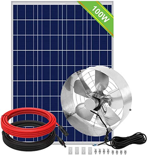 ECO-WORTHY 65W Solar Powered Fan with 100 Solar Panel Starter & Pair of 16FT Solar Cable with Adaptor, Cools and Ventilates Your House, Bathroom, Kitchen, Garage or RV and Protects Against Moisture