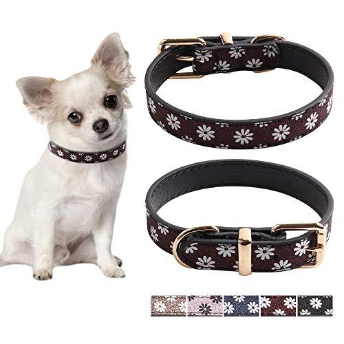 Eastlion Hundehalsband Leder&Katzenhalsband Glitzer,Einstellbar Weichem Haustierhalsband für Kleine Mittlere Hunde Welpen Kätzchen(Weinrot,M:26-33 cm)