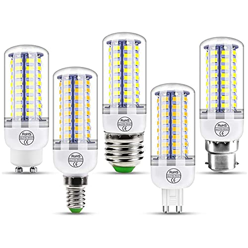HTYQ Bombilla De Maíz LED E14/E27/G9/GU10/B22 De 6 Piezas, Bombillas De Ahorro Energía Superbrillantes De Iluminación De 360 °, Lámpara De Iluminación para El No Regulable Blanco Frío 6000-6500K