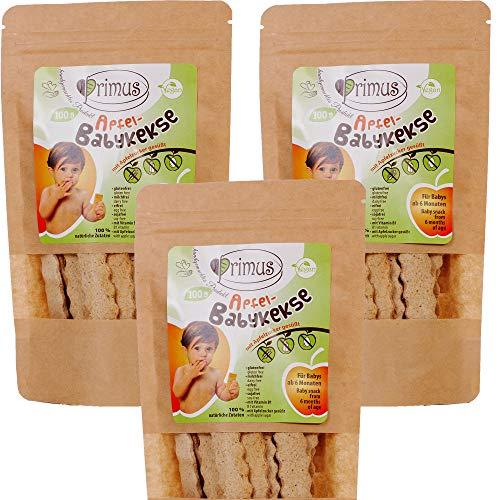 Primus Handgemachte Baby-Kekse mit Apfel-Geschmack, 3x 100 g Dreierpack, speziell für Babys ab 6 Monate abgestimmt, glutenfrei und vegan