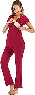 rismart Femme Ensemble de Pyjama de Maternité et d'allaitement Manche Courte Grossesse Vêtements de Nuit T-Shirt et Pantalon