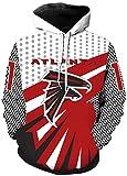 NFL Jersey-Falcons Pull à Manches Longues à Capuche, Veste à Capuche, Chemise de Rugby, Manches Longues 3D Logo Sweat-Shirt imprimé numérique, Pull de Football américain, Pull en Vrac/Poche kangouro