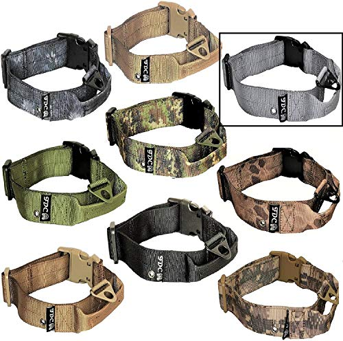 """FDC Dog Tactical Collars with Handle Heavy Duty Training Military Army Width 1.5in Plastic Buckle TAG Hole Medium Large M, L, XL, XXL (XL: Neck 16"""" - 20"""", Grey)"""