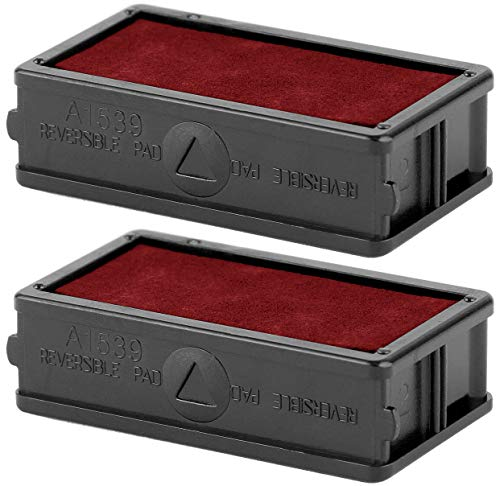 ExcelMark A1539 Self Inking Stamp Ink Refill - Red - Set of 2 Double Sided Pads