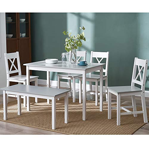 Panana Solid Wood Pine Dining Table Set With 4 X Shape Chairs, 1pc Bench Set Kitchen Room Furniture (White With Grey)
