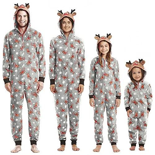 Christmas Matching Family Hoodie Sleepwear Christmas Reindeer Zipper One-Piece Jumpsuit Holiday Pjs for Adults Kids Baby (Gray Reindeer, Kids/6 Years)