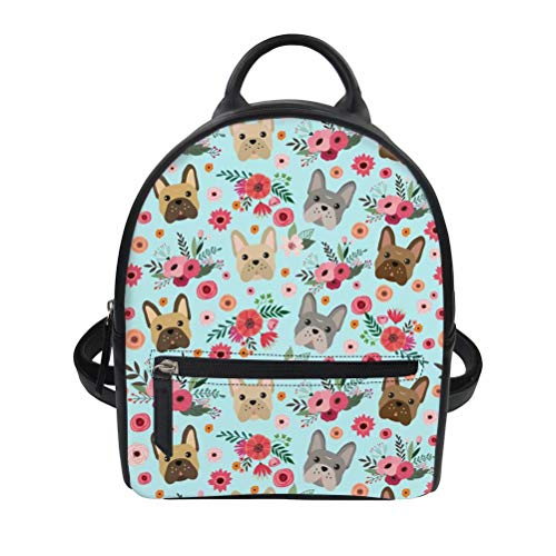 FOR U DESIGNS French Bulldog Flower Printed Gilrs Mini PU Leather Backpack Ladies Small Shoulder Bag Gift