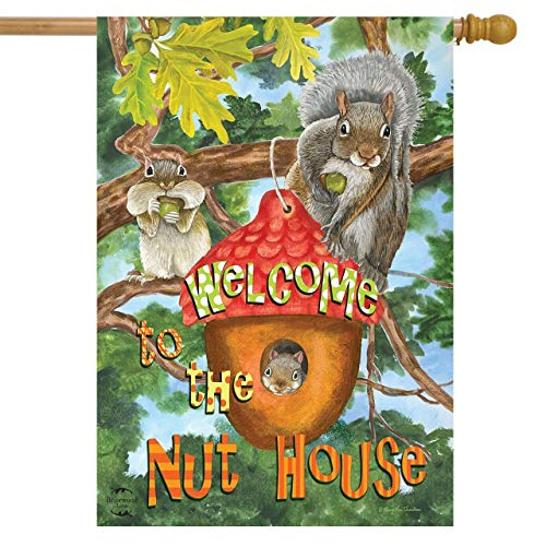 Briarwood Lane Welcome to The Nut House Summer House Flag Squirrels Humor 28' x 40'