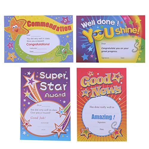 NUOBESTY 100 Piezas de Certificados de Premio Súper Estrella Papel de Recomendación Carta de Reconocimiento A5 para Niños Pequeños Suministros Escolares para El Hogar para Niños