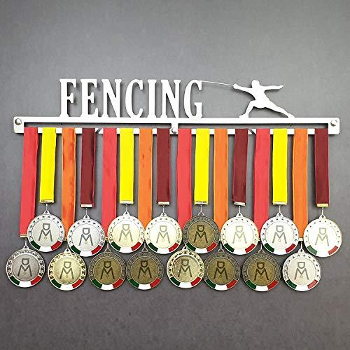 Fencing - Colgador de medallas Deportivas - Medallero de Pared Esgrima, Sable, Espada - Sport Medal Hanger - Display Rack (600 mm x 100 mm x 3 mm)