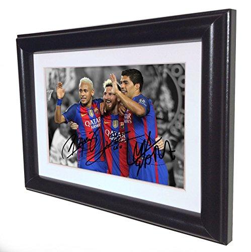 Signed Black Soccer 2016/17 Lionel Messi Neymar Jr Suarez Barcelona Autographed Photo Photograph Picture Frame Gift SM