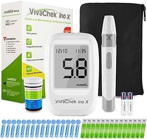 Medidor de glucosa en sangre, kit medidor azucar en sangre con codefree tiras de prueba de glucosa en sangre x 50, recordatorios de prueba y 900 memorias por VivaChek Ino X glucometro - mg/dL