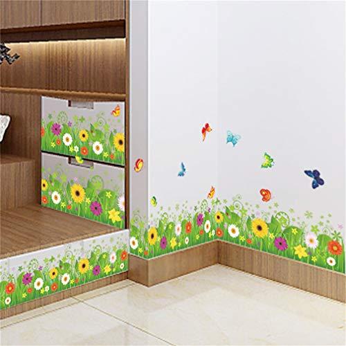 EWQHD printemps coloré papillon fleur herbe Clover Skirting sticker mural autocollant maison Flora ligne diy murale de mariage de meubles de cuisine,