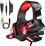 VersionTECH. Gaming Headset for PS5/ PS4/ Xbox One/PC, Noise Canceling Over-Ear Headphones with Mic, LED Lights & Volume Console for Xbox 1 S/X, Playstation 5/4/Slim/Pro, Switch, Computer -Red