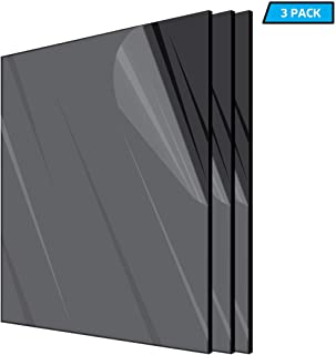AdirOffice Acrylic Plexiglass Sheet - Durable, Water Resistant & Weatherproof - Multipurpose & Ideal For Countless Uses 12''x12'' 1/8th thick – 3 Pack, Black