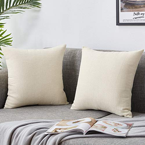 Bedwin Linen Throw Pillow Covers Pack of 2 Rustic Farmhouse Decorative Pillowcases for Sofa, Couch Chair, Living Room 18 x18 Inches