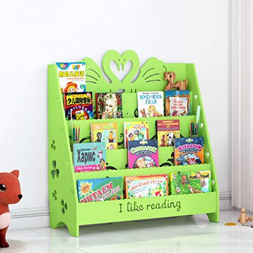 RENJUN Estantería de Dibujos Animados Tallado Álbum Sala de Estar Soporte de Almacenamiento en el Suelo Soporte de exhibición Niños Leyendo estantería 60x32x90cm Estante para Libros