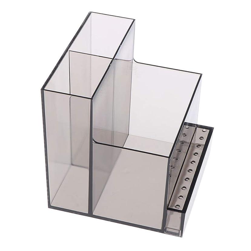 お別れコマースB Baosity ネイルドリルマシンホルダー アクリル製 収納ホルダー ボックス プロ ネイルサロン 2色選べ - ブラック