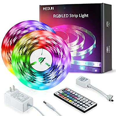 MESUN Led Strip Lights,32.8ft Upgraded Flexible Tape Lights Color Changing 5050 RGB 300 LEDs Light Strips Kit with 44 Keys Ir Remote Controller and 12v Power Supply for Home, Bedroom, Kitchen