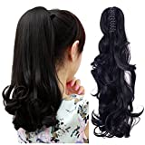 FUT Womens Claw Ponytail Clip in Hair Extensions 18' Long Curly Hairpiece Dark Black Wavy