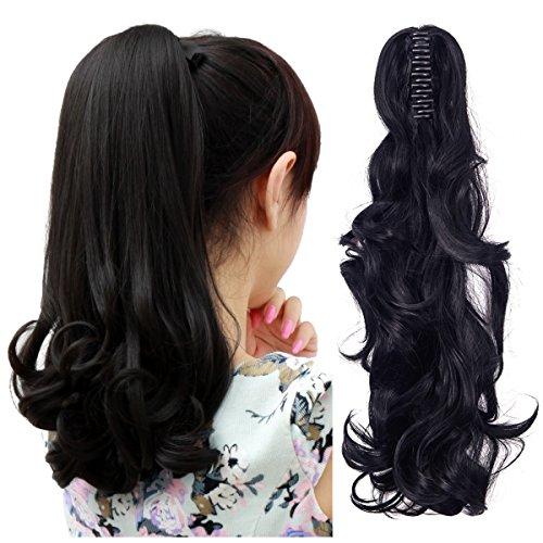 Fut–Pinza para extensiones de pelo Clip de coleta en 18'Largo Rizado Hairpiece