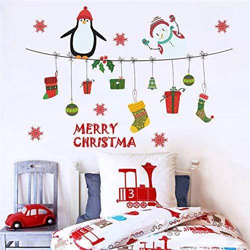 AWYUAN Pinguin Schneemann Wandtattoos Schlafzimmer Schaufenster Wohnkultur Frohe Weihnachten Wandaufkleber PVC Wallpaper