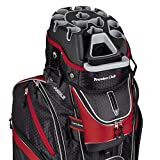 Founders Club Premium Cart Bag with 14 Way Organizer Divider Top (Black Red)