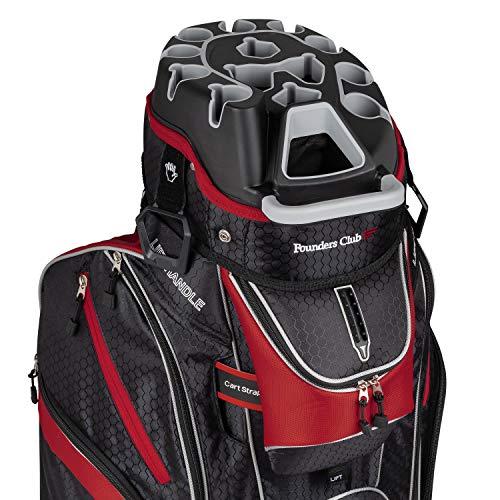 Founders Club Premium Cart Bag with 14 Way Organizer Divider Top (Black Red)