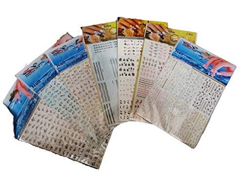 5 mélangées grand feuilles de nail art eau transfert autocollants divers designs, chaque feuille a 12 plus petit pages= 60 designs, fleurs, cartoon, moustache, etc by Fat-catz-copy-catz