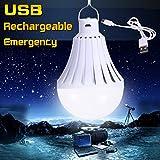 Bombilla de LED, E27 220V 12W 20W 30W 40W de alta potencia LED USB recargable de emergencia bombillas LEDs batería al aire libre luces de la noche (Color : Blanco, Tamaño : 40W)