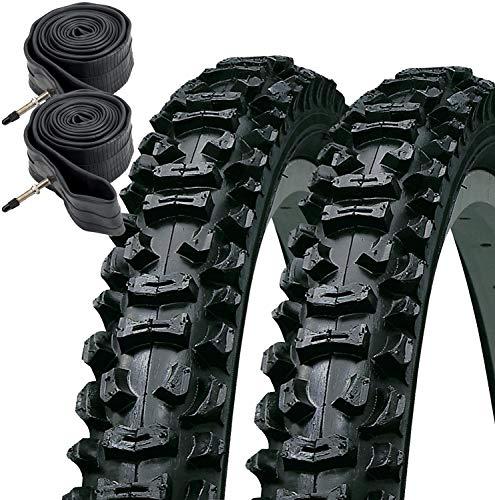 KENDA Smoke 26' x 2.10 Mountain Bike Tyres with Presta Tubes (Pair) Plus Free Cycle Mitts, 26 x 2.1