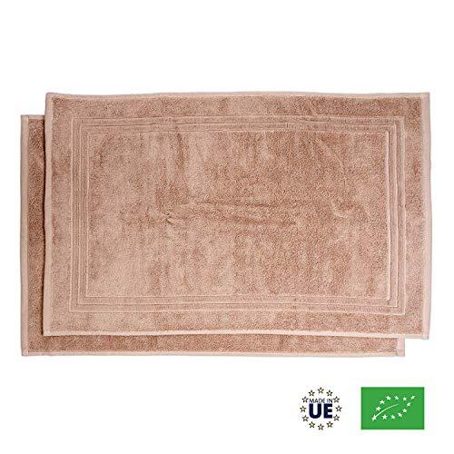 Tappetino da Bagno in Cotone Biologico 100%, Certificato GOTS - Set di 2 - 50x80cm - 800gr/m2 - Con Fascia Decorativa - Assorbente, 3 Colori, Lavabile in Lavatrice - Molto Morbido, Spesso - Made UE
