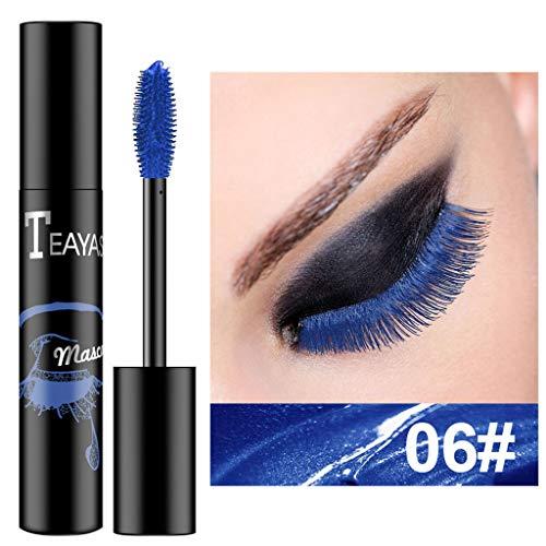 7 Couleurs Cils de Mascara,Mascara Cosmétique Multicolore Maquillage Cils Extension étanche Curling Cils (bleu)
