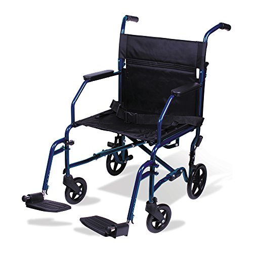 Carex Transport Wheelchair With 19 inch Seat - Folding Transport Chair with Foot Rests - Foldable Wheel Chair for Travel and Storage, 1 Count
