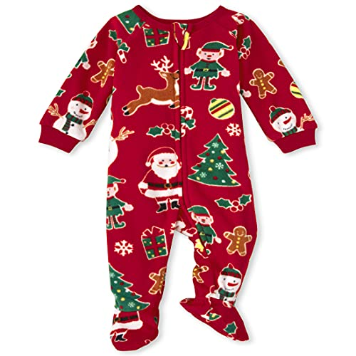 The Children's Place Baby and Toddler Holiday Fleece One Piece Zip Up Pajamas, Red Xmas, 3T