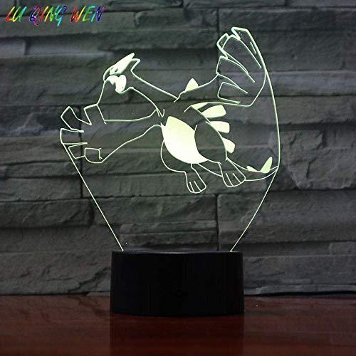 3D Illusionslampe LED Nachtlicht Pokemon Go Lugia Figur Baby Ändern der Farbe Nachtbett Atmosphäre Neuheit Geschenk USB Kinder Lugia
